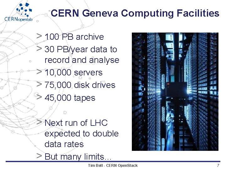 CERN Geneva Computing Facilities > 100 PB archive > 30 PB/year data to record