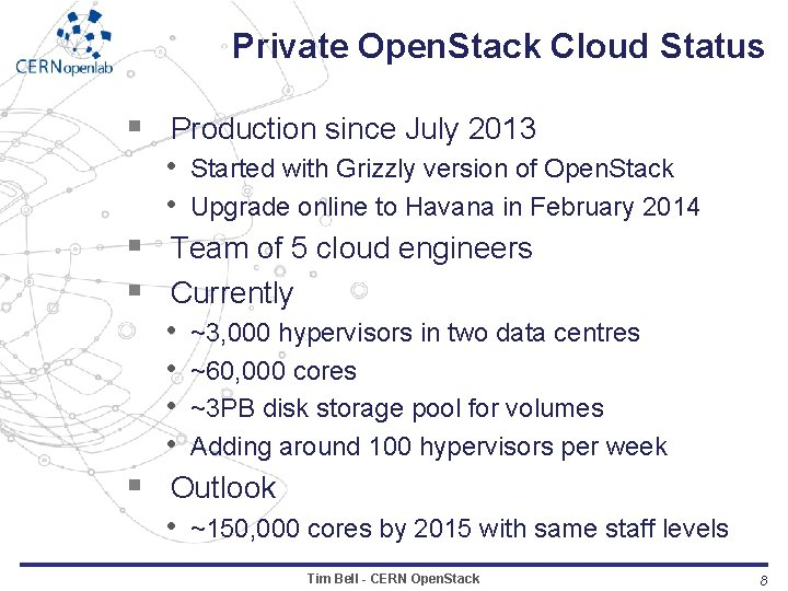 Private Open. Stack Cloud Status § Production since July 2013 • Started with Grizzly