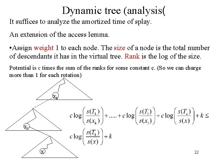 Dynamic tree (analysis( It suffices to analyze the amortized time of splay. An extension
