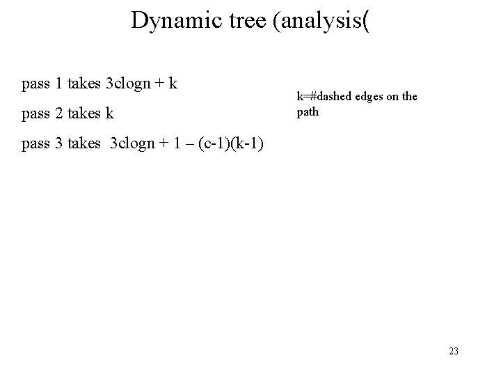 Dynamic tree (analysis( pass 1 takes 3 clogn + k pass 2 takes k