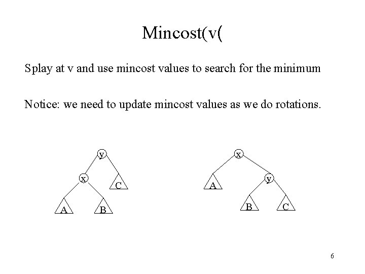 Mincost(v( Splay at v and use mincost values to search for the minimum Notice: