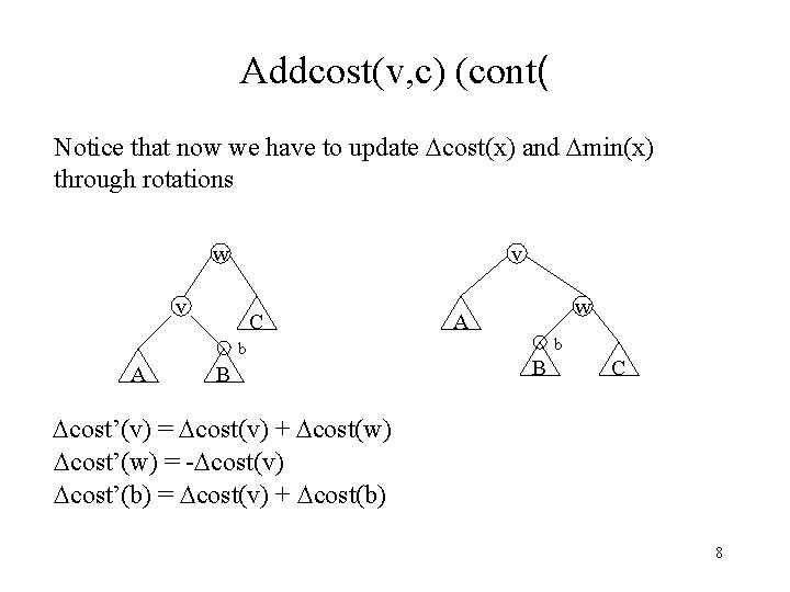 Addcost(v, c) (cont( Notice that now we have to update cost(x) and min(x) through