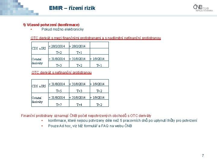 EMIR – řízení rizik 1) Včasné potvrzení (konfirmace) • Pokud možno elektronicky OTC derivát