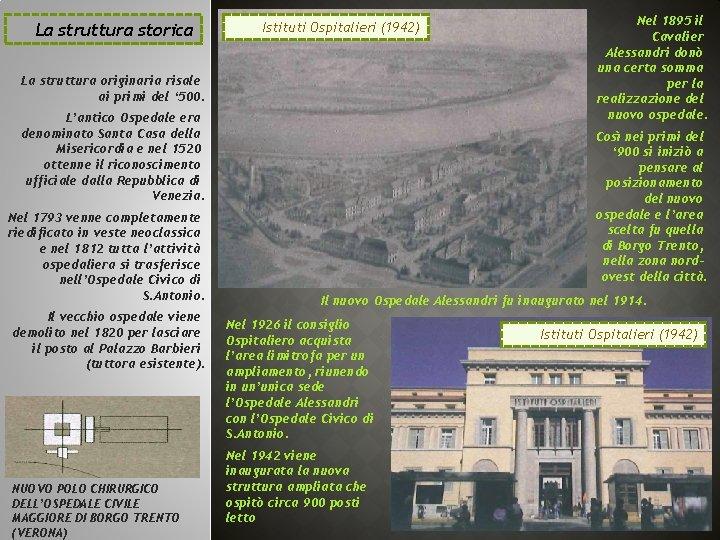 La struttura storica Istituti Ospitalieri (1942) La struttura originaria risale ai primi del '