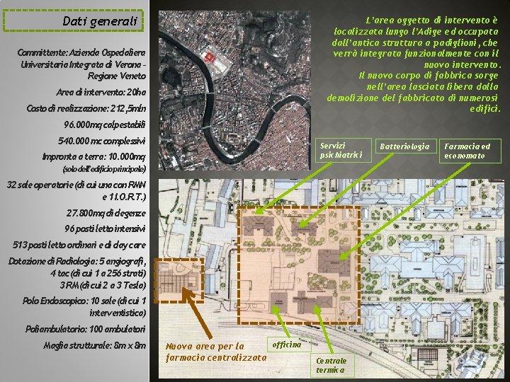 Dati generali L'area oggetto di intervento è localizzata lungo l'Adige ed occupata dall'antica struttura
