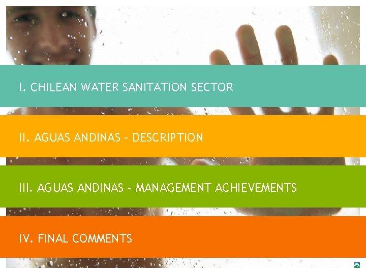 I. CHILEAN WATER SANITATION SECTOR II. AGUAS ANDINAS – DESCRIPTION III. AGUAS ANDINAS –