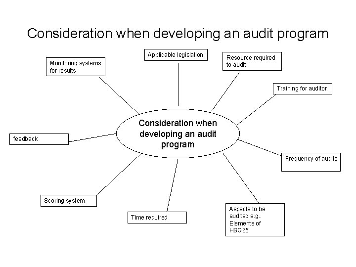 Consideration when developing an audit program Applicable legislation Monitoring systems for results Resource required