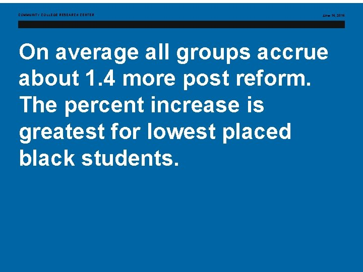 COMMUNITY COLLEGE RESEARCH CENTER June 16, 2016 On average all groups accrue about 1.