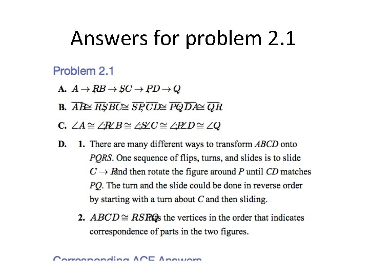 Answers for problem 2. 1