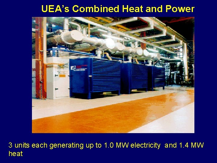 UEA's Combined Heat and Power 3 units each generating up to 1. 0 MW