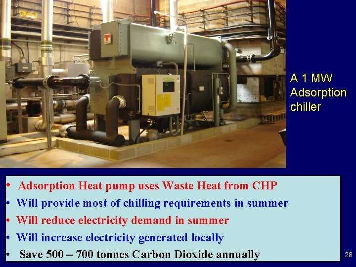 A 1 MW Adsorption chiller • Adsorption Heat pump uses Waste Heat from CHP