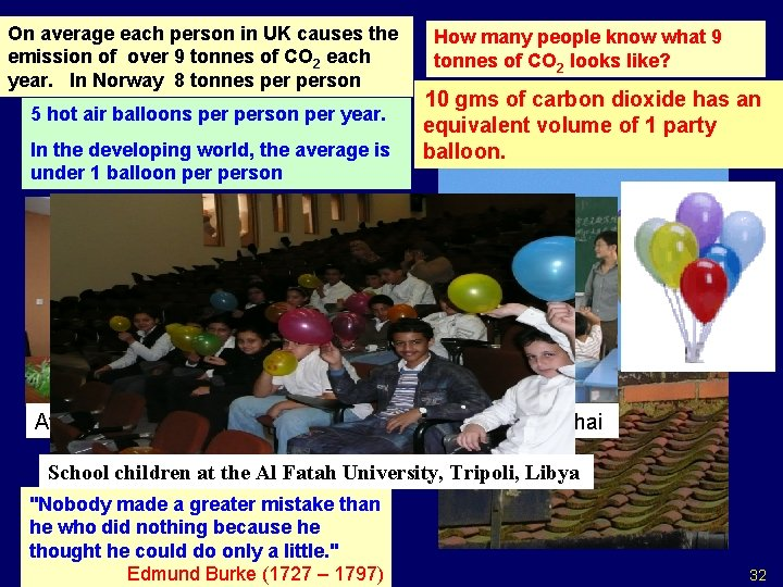 On average each person in UK causes the emission of over 9 tonnes of