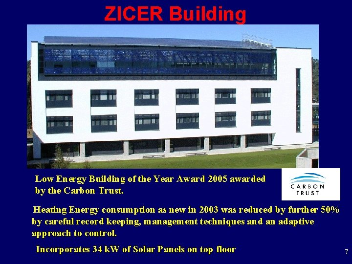 ZICER Building Low Energy Building of the Year Award 2005 awarded by the Carbon