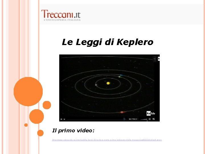 Le Leggi di Keplero Il primo video: http: //www. raiscuola. rai. it/articoli/le-leggi-di-keplero-parte-prima-luniverso-della-meccanica/8920/default. aspx
