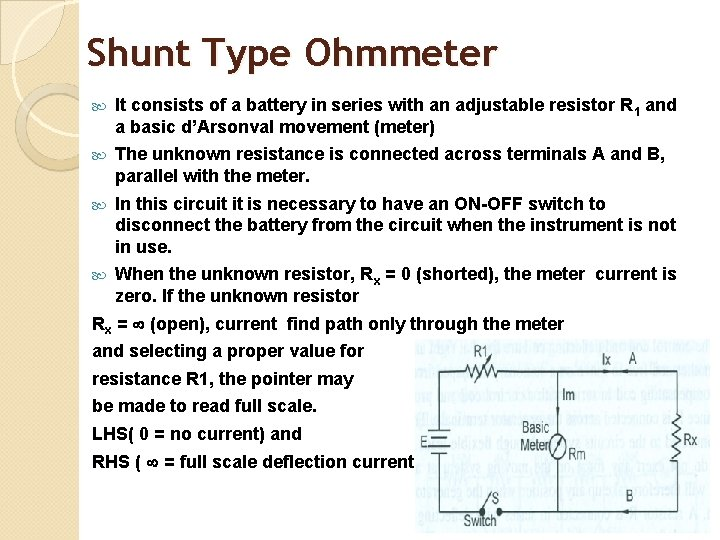 Shunt Type Ohmmeter It consists of a battery in series with an adjustable resistor