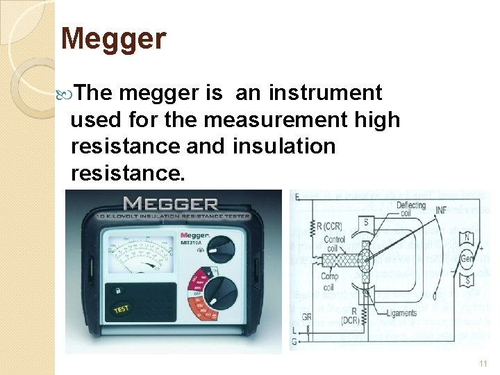 Megger The megger is an instrument used for the measurement high resistance and insulation