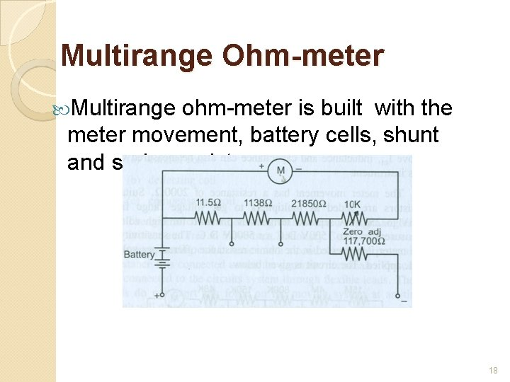 Multirange Ohm-meter Multirange ohm-meter is built with the meter movement, battery cells, shunt and