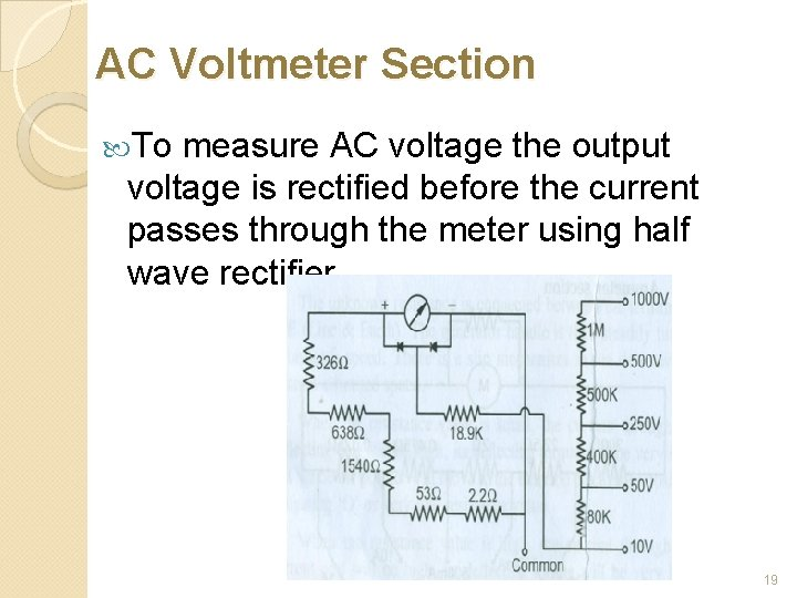 AC Voltmeter Section To measure AC voltage the output voltage is rectified before the