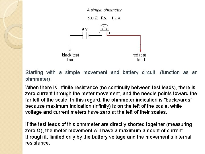 Starting with a simple movement and battery circuit, (function as an ohmmeter): When there