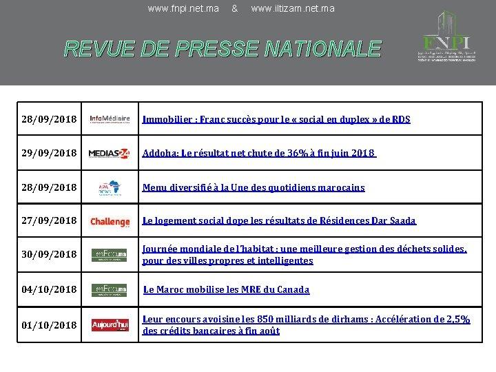www. fnpi. net. ma & www. iltizam. net. ma REVUE DE PRESSE NATIONALE 28/09/2018
