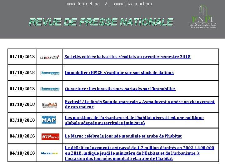 www. fnpi. net. ma & www. iltizam. net. ma REVUE DE PRESSE NATIONALE 01/10/2018