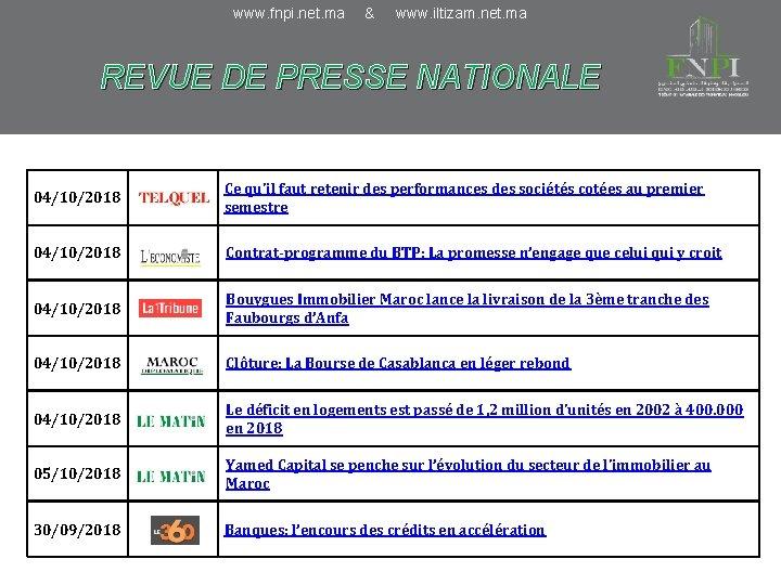 www. fnpi. net. ma & www. iltizam. net. ma REVUE DE PRESSE NATIONALE 04/10/2018