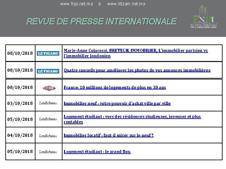 www. fnpi. net. ma & www. iltizam. net. ma REVUE DE PRESSE INTERNATIONALE 08/10/2018