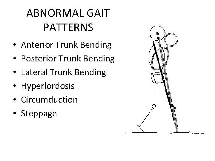 ABNORMAL GAIT PATTERNS • • • Anterior Trunk Bending Posterior Trunk Bending Lateral Trunk