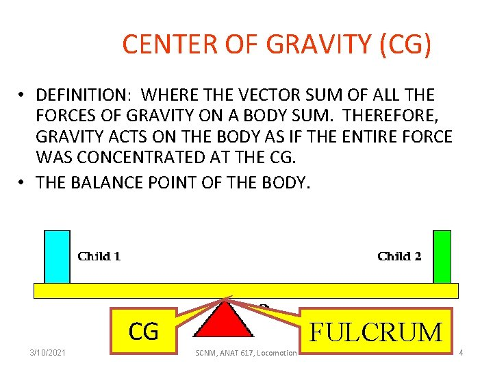 CENTER OF GRAVITY (CG) • DEFINITION: WHERE THE VECTOR SUM OF ALL THE FORCES