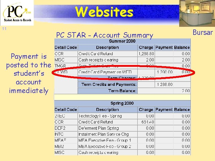 Websites 11 Payment is posted to the student's account immediately PC STAR - Account