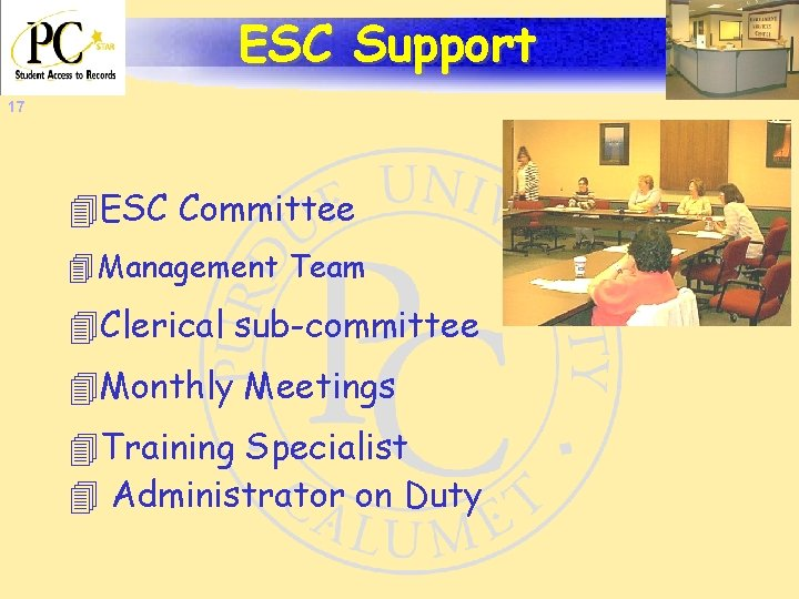 ESC Support 17 4 ESC Committee 4 Management Team 4 Clerical sub-committee 4 Monthly