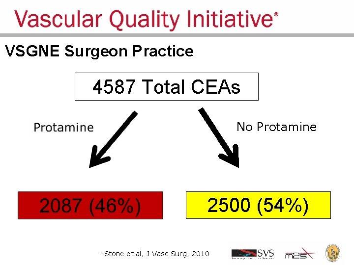 VSGNE Surgeon Practice 4587 Total CEAs No Protamine 2500 (54%) -Stone et al, J