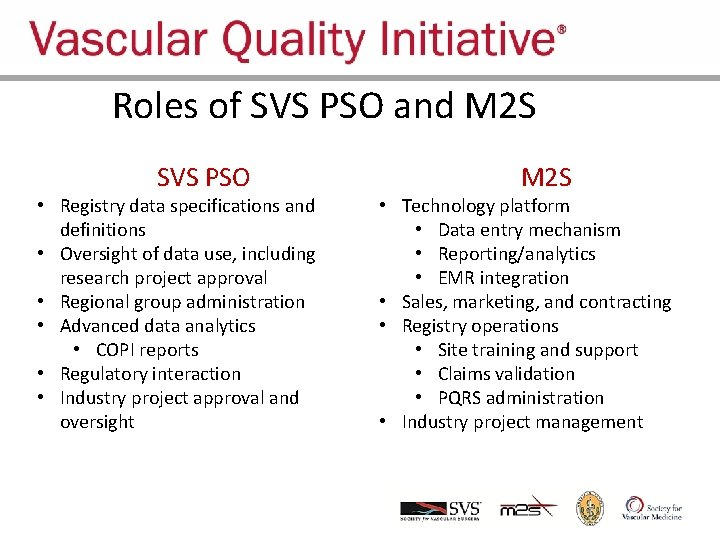 Roles of SVS PSO and M 2 SVQI SVS PSO • Registry data specifications
