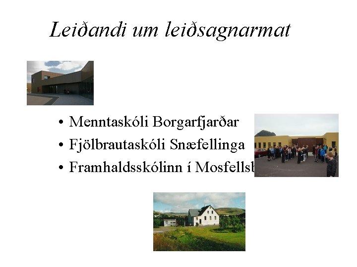 Leiðandi um leiðsagnarmat • Menntaskóli Borgarfjarðar • Fjölbrautaskóli Snæfellinga • Framhaldsskólinn í Mosfellsbæ