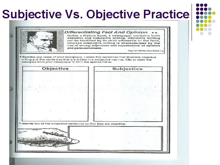 Subjective Vs. Objective Practice