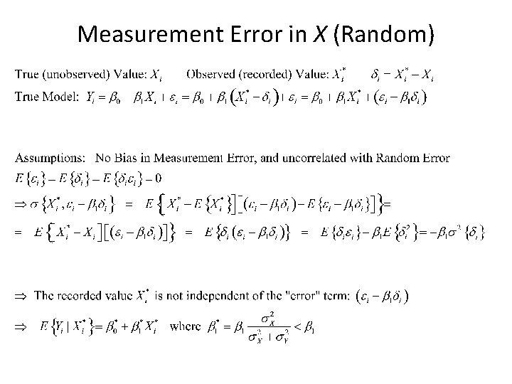 Measurement Error in X (Random)