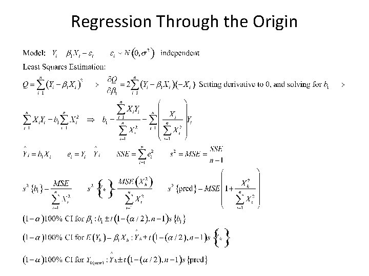 Regression Through the Origin