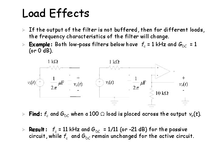 Load Effects Ø Ø If the output of the filter is not buffered, then