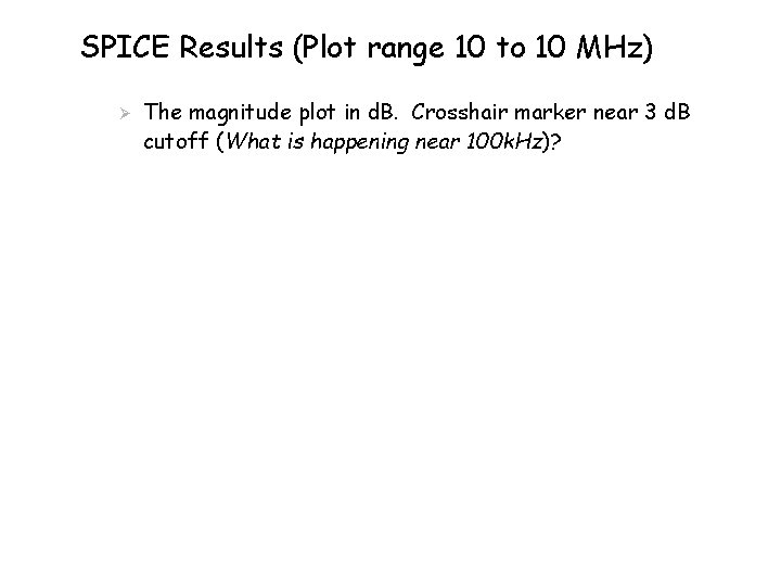 SPICE Results (Plot range 10 to 10 MHz) Ø The magnitude plot in d.