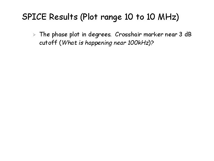 SPICE Results (Plot range 10 to 10 MHz) Ø The phase plot in degrees.