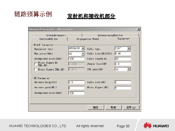 链路预算示例 HUAWEI TECHNOLOGIES CO. , LTD. 发射机和接收机部分 All rights reserved Page 55
