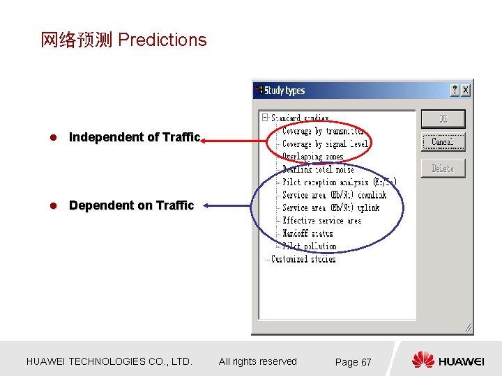 网络预测 Predictions l Independent of Traffic l Dependent on Traffic HUAWEI TECHNOLOGIES CO. ,