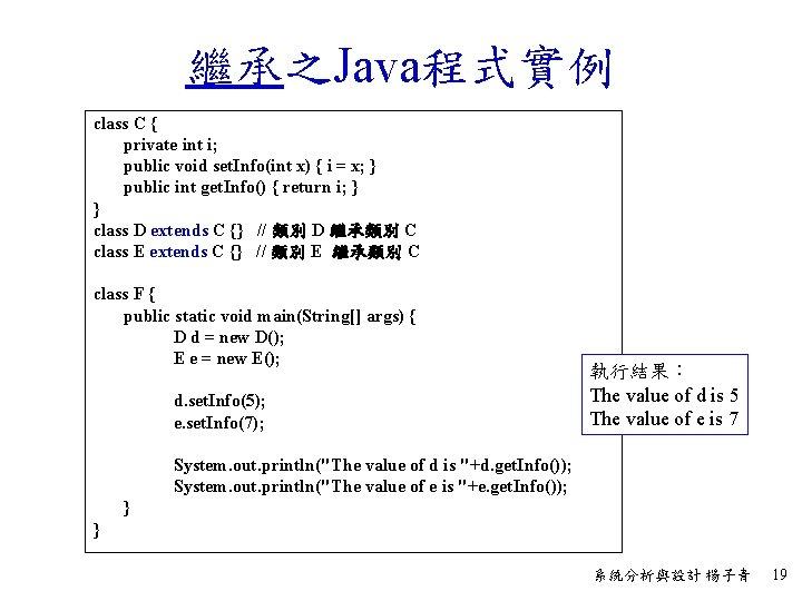 繼承之Java程式實例 class C { private int i; public void set. Info(int x) { i
