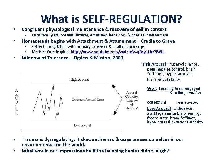 • What is SELF-REGULATION? Congruent physiological maintenance & recovery of self in context