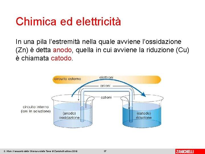 Chimica ed elettricità In una pila l'estremità nella quale avviene l'ossidazione (Zn) è detta