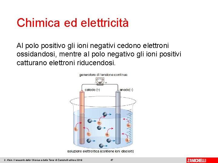 Chimica ed elettricità Al polo positivo gli ioni negativi cedono elettroni ossidandosi, mentre al