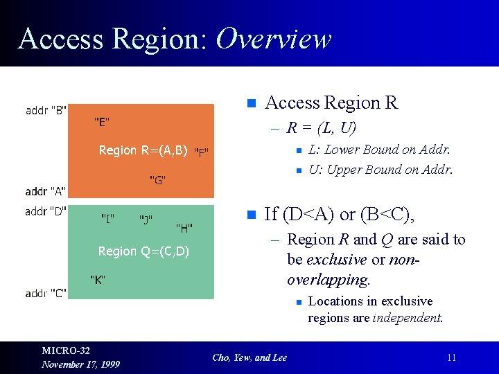 Access Region: Overview n Access Region R – R = (L, U) n n