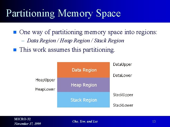 Partitioning Memory Space n One way of partitioning memory space into regions: – Data