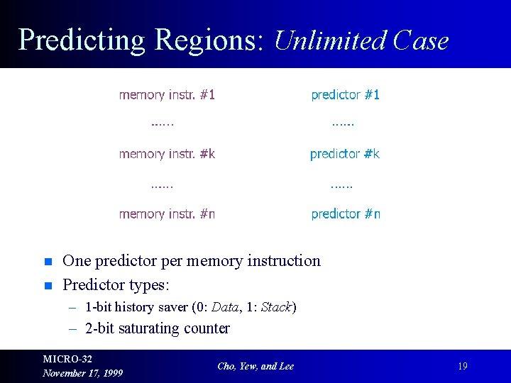 Predicting Regions: Unlimited Case n n One predictor per memory instruction Predictor types: –