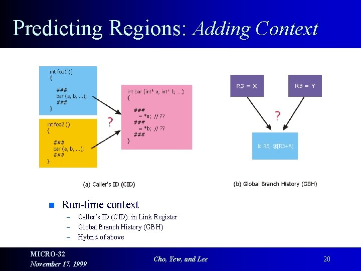 Predicting Regions: Adding Context n Run-time context – – – Caller's ID (CID): in